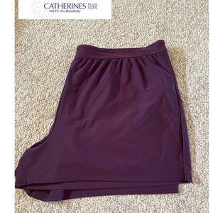 NWOT Catherine's size 3X swim shorts plum lined